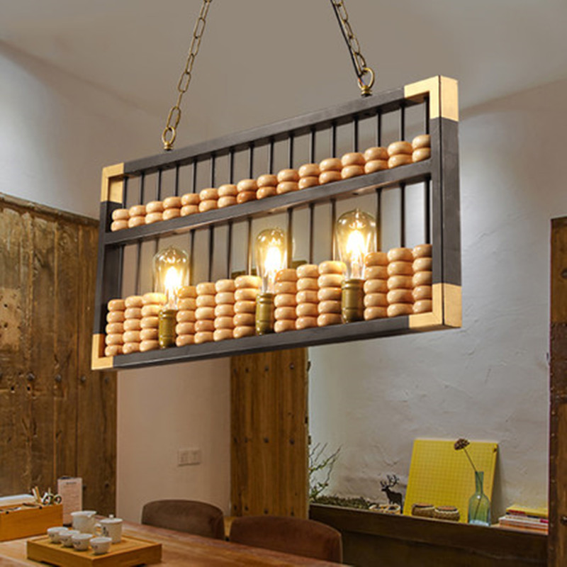 Retro loft Pendant Lights creative personality plate abacus bar cafe front desk cashier solid wood Pendant lamps