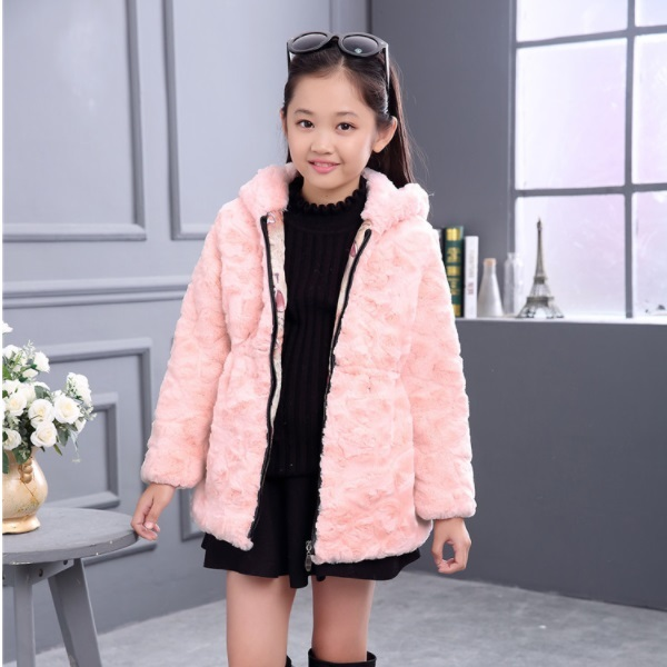 700722fd46f7 Furry Autumn Winter Baby Girls Faux Fur Cotton Warm Thick Coat ...