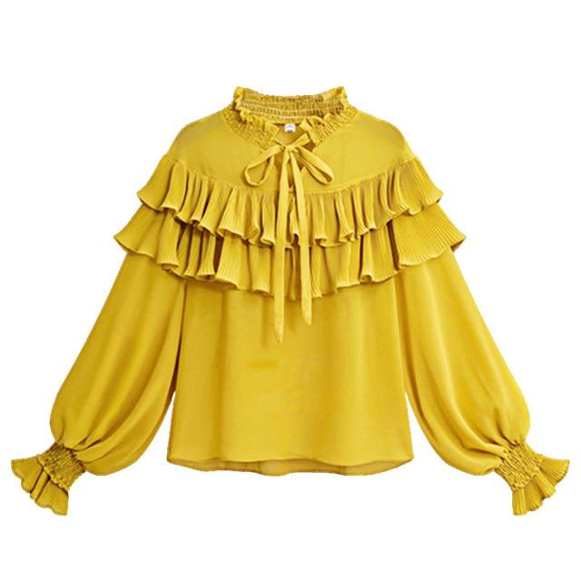 66ca66fff85bc3 Vintage Lace Up tiered Ruffle Yellow Blouse Women 2018 Spring Long Lantern Sleeve  White Chiffon Shirt Plus Size 5XL Ladies Tops