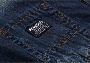 Image 4 - KUEGOU 2019 Autumn 100% Cotton Blue Denim Shirt Men Dress Button Casual Slim Fit Long Sleeve For Male Fashion Brand Blouse 15005