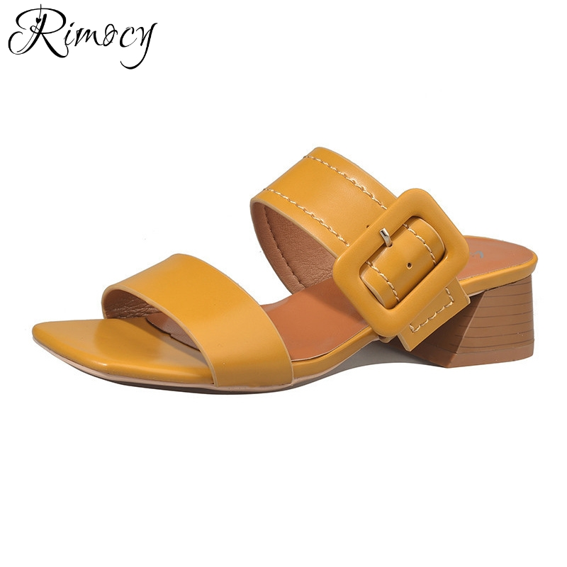 Rimocy square toe big buckle medium heel shoes for women 2017 summer casual sandals slippers retro thick heels flip flops mujer selens pro 100x100mm 12nd square medium