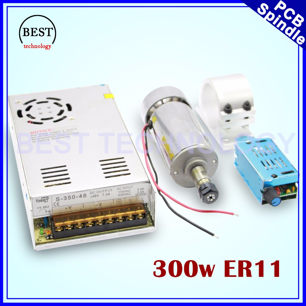 300w ER11 High Speed CNC Spindle motor kit 300w Air Cooled Spindle motor PCB Spindle for engraving milling cnc router machine dc110v 500w er11 high speed brush with air cooling spindle motor with power fixed diy engraving machine spindle