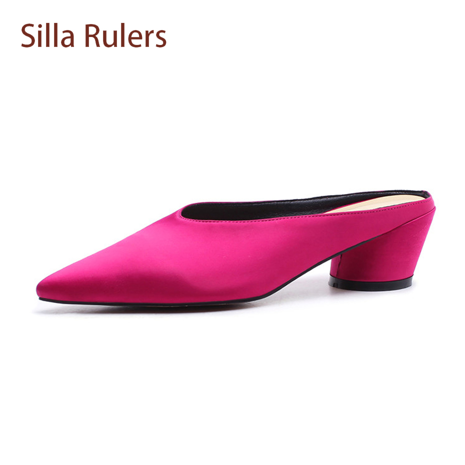Silla Rulers 2018 spring summer all match silk slingback women slippers pointed toe round med heel lazy women mules shoes hanbaidi spring retro chic women slippers silk velvet embroider shoes high heels shoes women pointed toe lazy fur slippers shoes