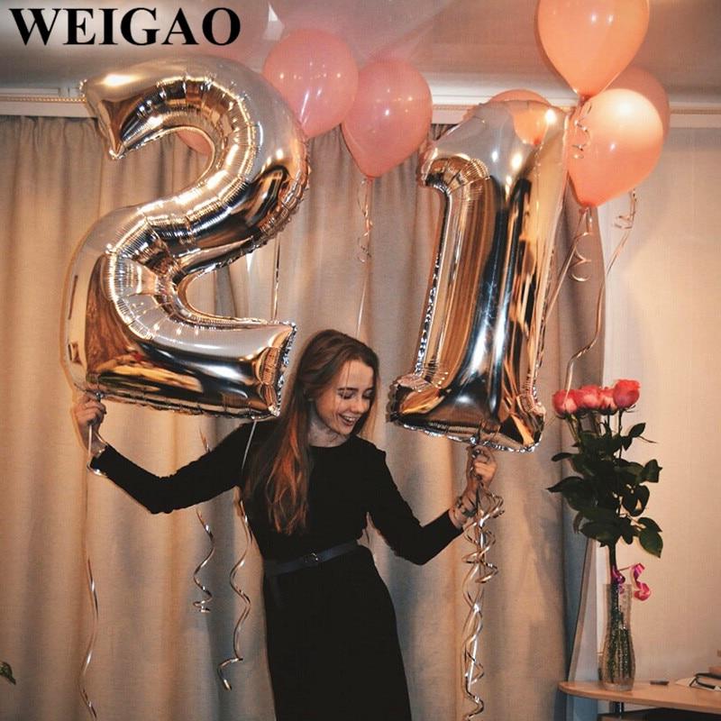Nuevo número de color rosa gigante 34 pulgadas globo de fiesta de cumpleaños 1 a 9 globo de la hoja