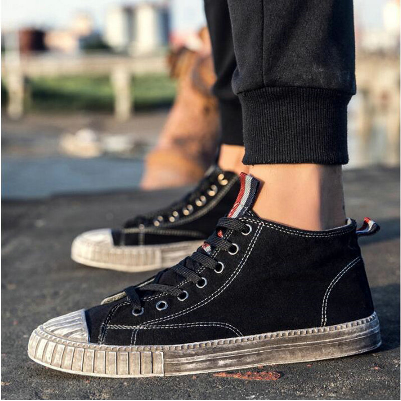2018 Summer Men dirty shoes sneakers Boys Black Gray flat Shoes Male Canvas Casual Shoes Graffiti high top flats Shoes NN-39