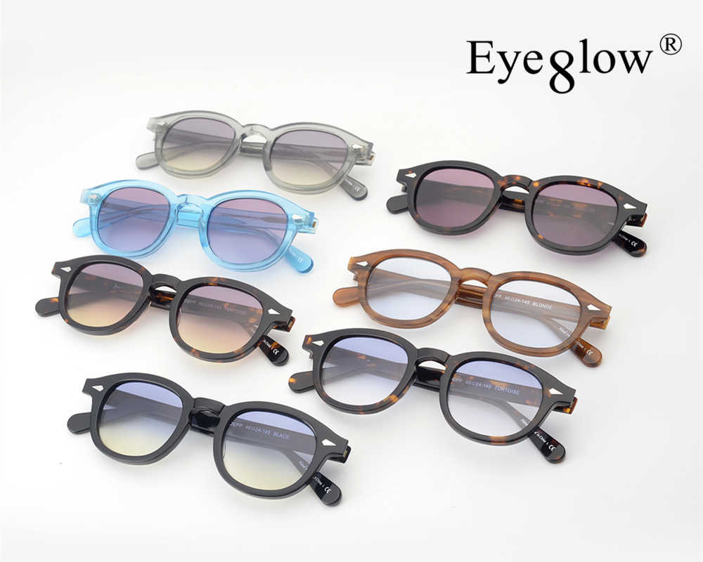 7195798e7a4 Pirate captain Johnny Depp style acetate dyed vintage sunglasses men and  women round outdoor retro sun