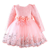 2017 Autumn Dress Lace Sequins Long Sleeves Girls Party Dresses Baby Girl Clothes Kids Toddler