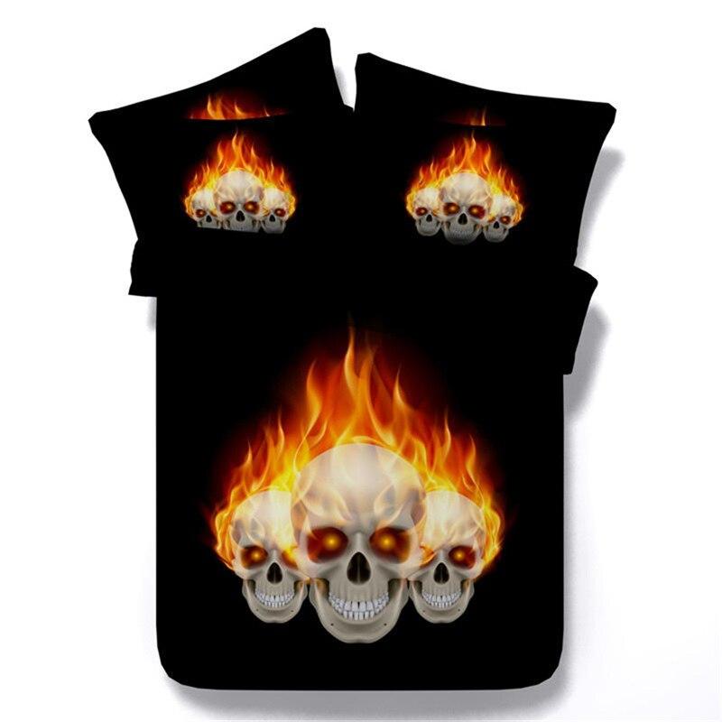 HD 3d peinture feu crâne noir couette couverture double pleine reine cal king size ensemble de literie 3 pièces cool squelette linge de lit couverture