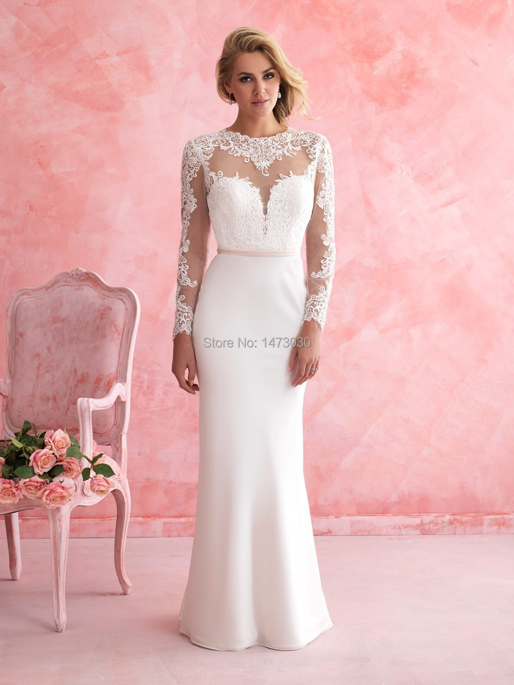Custom Made Beautiful Lace Appliques O Neck Long Sleeves Wedding