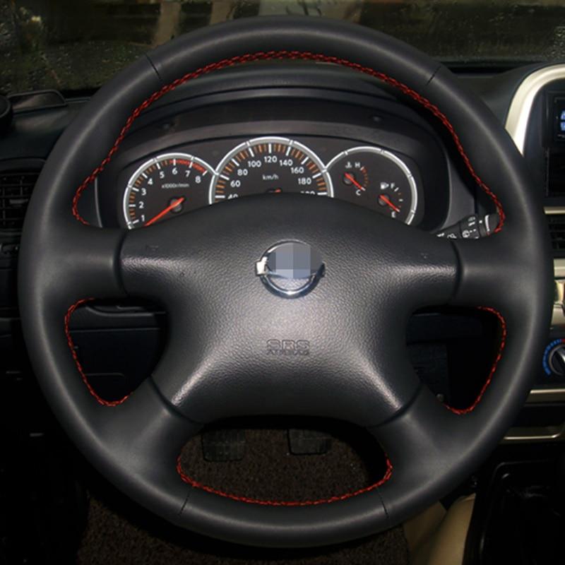 Svart läder Rattkåpa för Nissan Almera N16 Pathfinder Primera - Bil interiör tillbehör - Foto 2