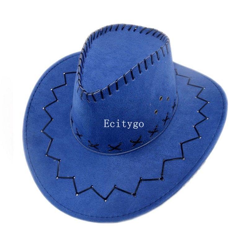 New Fasion Unisex Faux Suede Leather Cowboy Hat Wide Brim Western Outback Sun Hats 11 Colors A1y