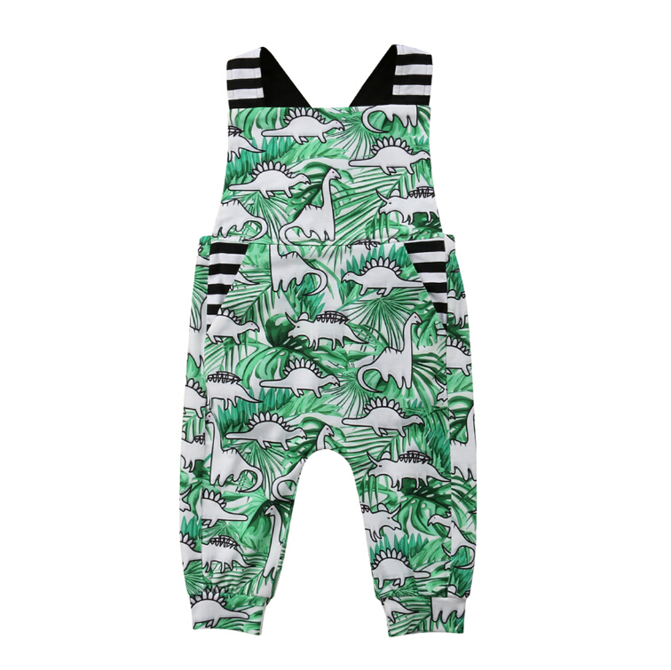 Sleeveless Overalls Newborn Toddler Baby Boy Dinosaur   Romper   Jumpsuit Clothes Outfits Summer