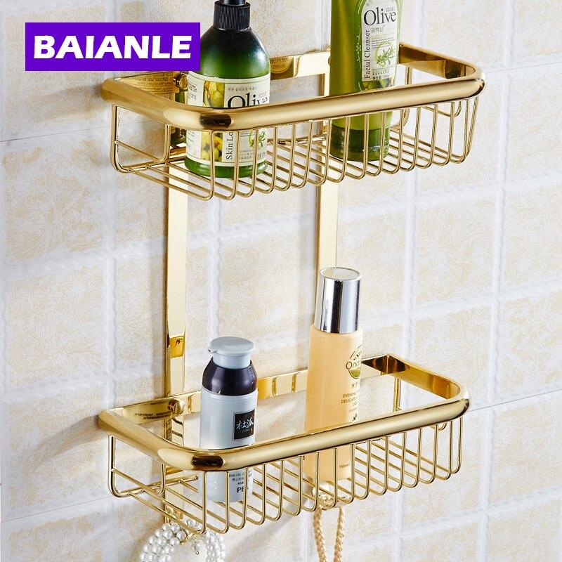 Uma/Duas Camadas de Banho Rack Espaço Ouro Latão Toalha Shower Basket Bar Prateleira/Acessórios Do Banheiro