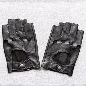 Image 4 - Svadilfari wholesale Winter 2018 Mens Sheepskin Driving Genuine Leather Gloves Fingerless Black Driver Glove Fathers Day Gift