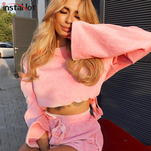 InstaHot Pink Stripe Long Flare Sleeve And Drawstring Waist Shorts Two Piece Sets Women Autumn Casual Sweet Vintage 2Piece Set