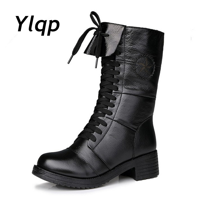 цены на Autumn Winter 2018 England Style Women Leather Shoes Genuine Leather Martin Boot Shoes Women Shoelace Mid-Calf Motorcycle Boots