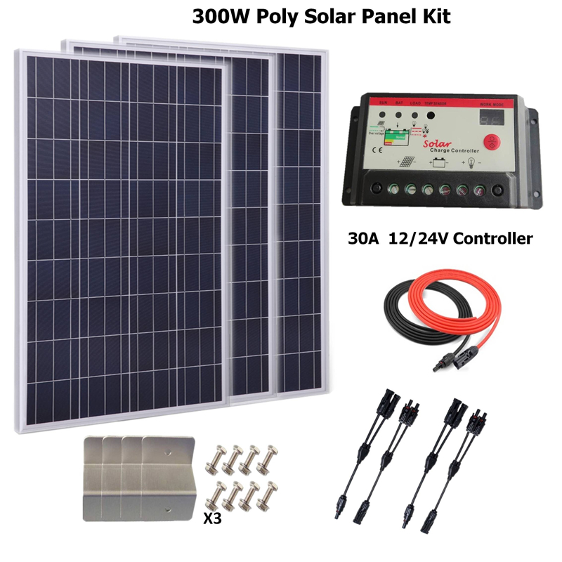 300w Solar Panel Polycrystalline solar panel system kit w/30A LCD solar charge controller, solar cable, Z bracket