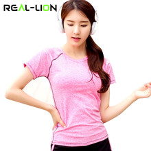RealLion Short Sleeve Yoga Shirt Wear Fitness Tops Quick Dry T-shirt Women Yoga Swing Girls Sport Clothing(China)