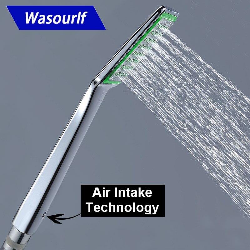 WASOURLF Air Trubo Intake Bathroom Handheld Shower Head Hotel Pressurized ZHand Shower Water Saving Plastic ABS Chrome