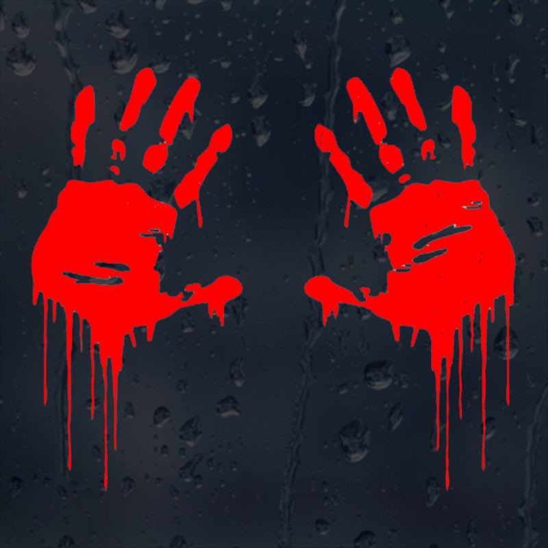 7.5CMX15CM Zombie Bloody Hands Print Fun Vinyl Car Sticker Motorcycle Window Decal Accessories Black Silver Red C1-2137