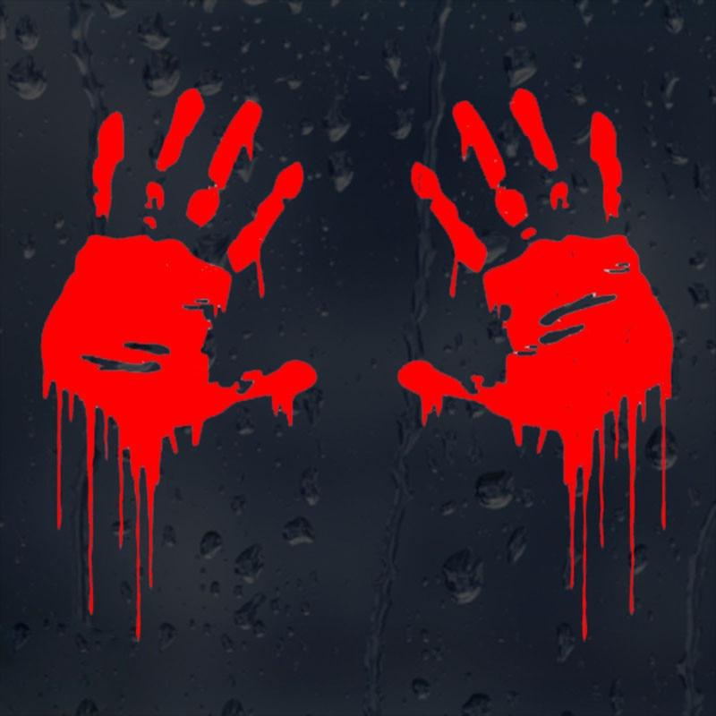 7 5cmx15cm Zombie Bloody Hands Print Fun Vinyl Car Sticker