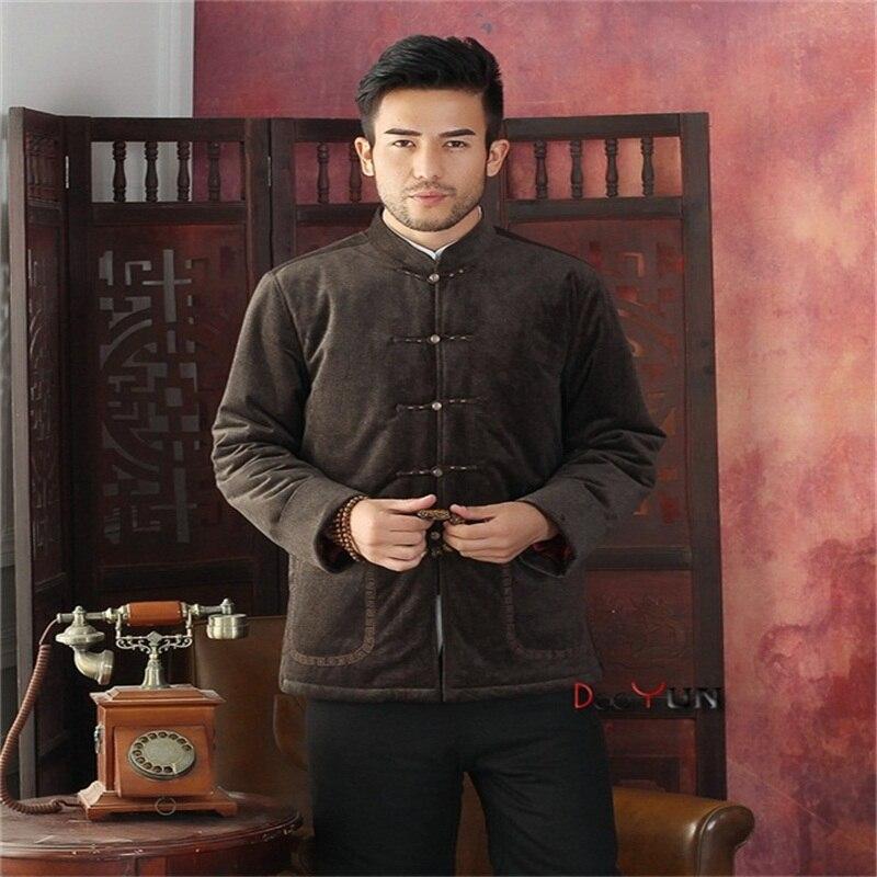 Nouveau Style hommes à manches longues style chinois veste Kung Fu manteau velours broderie Tang costume taille S M L XL XXL XXXL livraison gratuite