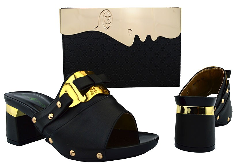 ФОТО African Wedding Shoe And Bag Sets To Matching Black Color Women Pumps Hot Selling Italian Shoes With Match Bag Set BCH-26