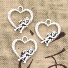 8pcs Charms Heart Lover Angel Cupid 20x18mm Antique Bronze Silver Color Plated Pendants Making DIY Handmade Tibetan Finding cheap hroryn Zinc Alloy Hearts Fashion like photo Metal Vintage