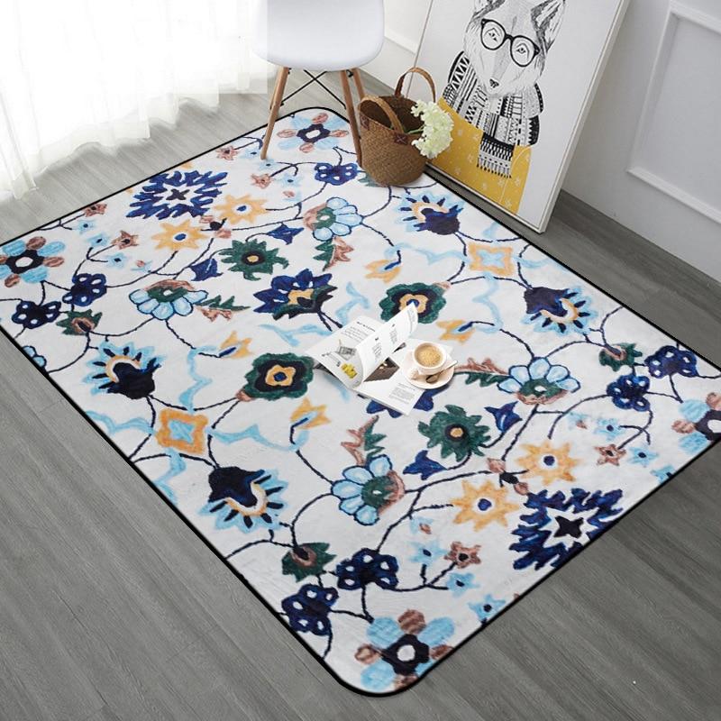 Tapis Vintage européen tapis pour salon chambre Floral Rectangle tapis de sol tapis de zone douce Table basse enfants jouer tapis de jeu