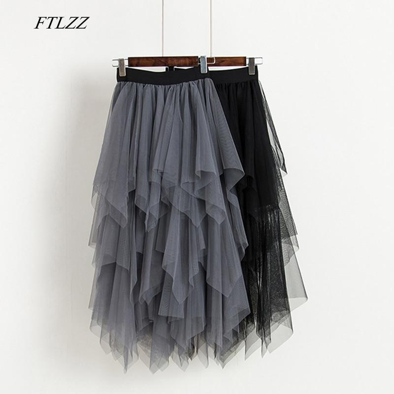FTLZZ Tulle Skirts Women High Waist Mesh Skirt Hem Asymmetrical Pleated Midi Skirt Female Black Pink Summer Mid-calf Skirts