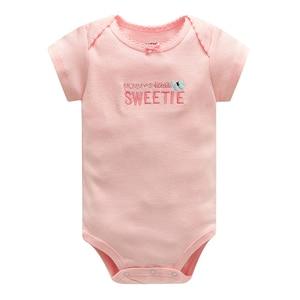 Image 2 - Baby Jumpsuit Bodysuits Korte Mouw Katoen Leuke Print Romper 5Pcs Pasgeboren Baby Outfit Zomer Baby Jongens Kleding Set gewaad Bebe