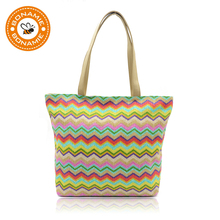 BONAMIE 2019 Summer Women Tote Handbag PP Weave Colorful Beach Bag Fashion Wave Stripe Woven Female Shoulder Waterproof New