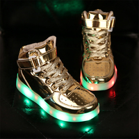 High Top Sneakers Led Flash Children Breathable White 7 Color Led Shoes For Kids Light Up