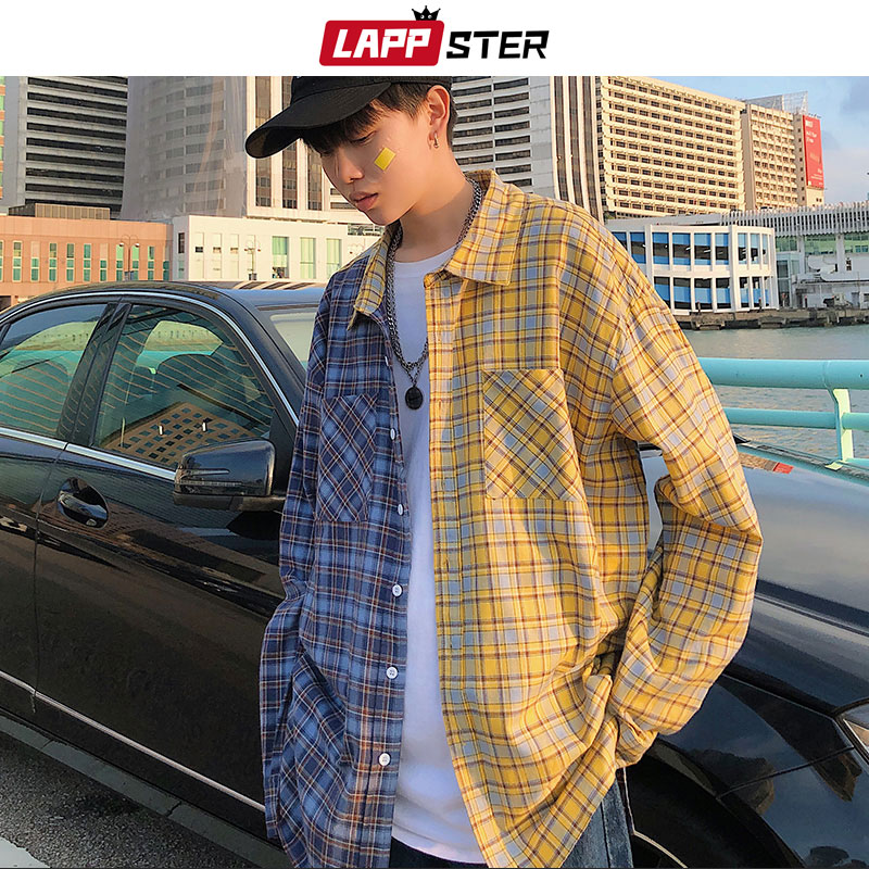 Casual Shirts Obliging Lappster Men Streetwear Color Block Plaid Shirt 2019 Mens Summer Shirts Long Sleeve Male Vintage Pocket Casual Fashions Clothing Men's Clothing