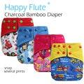 Happyflute pañal de tela de bolsillo de bambú del carbón de leña con double fugas guardias, impermeable y transpirable, sml ajustable