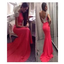 Neue Design Roten Langen Abendkleid Appliques Und Kristall Party Kleid Foraml Evening Kleid Benutzerdefinierte vestido de festa gala jurken