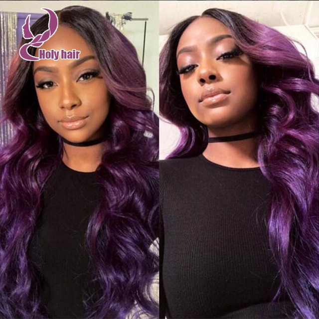 Middle Part Ombre Purple Wavy Brazilian Full Lace Wigs Human Hair Front