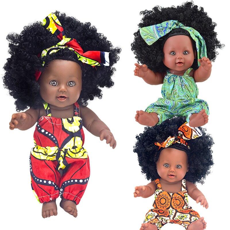 African ! baby dolls black fashion realistic lol reborn silicone vinyl 12inch  30cm newborn poupee boneca baby soft toy girl kid