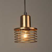Loft retro Gold Industrial wind pendant lamp iron cage cord E27 pendant lights for dining room bedroom bar coffee Restaurant