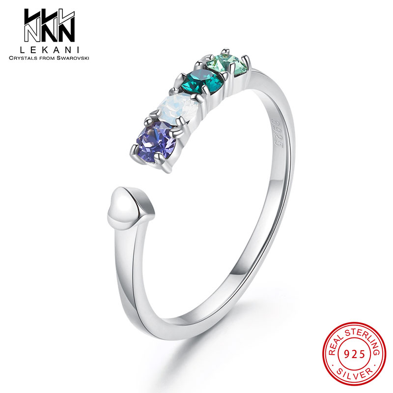 Colorful Crystal From Swarovski Opening Ring 925 Silver Fine Jewelry Goddess Exquisite Design Anniversary Finger Jewlery Gifts