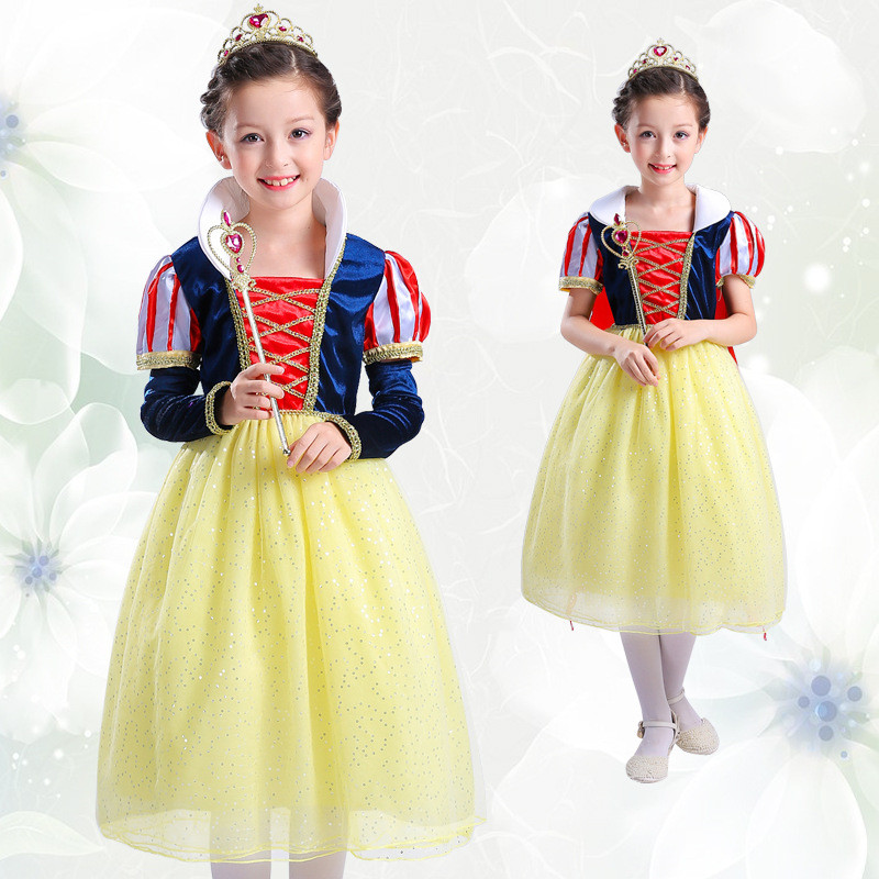 Halloween Kid Snow White Princess Dress Cross Pattern Child Girls Dress Party Cosplay Ball Gown Costume Dress Children Clothing halloween kid cosplay fallen angel wings white size s