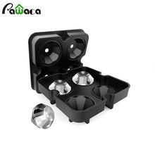 4 Cavity Diamond Shape 3D Ice Cube Mold Silicone Ice Cube Tray Maker Bar Party Drinking Wine Trays Chocolate Mold Kitchen Tool