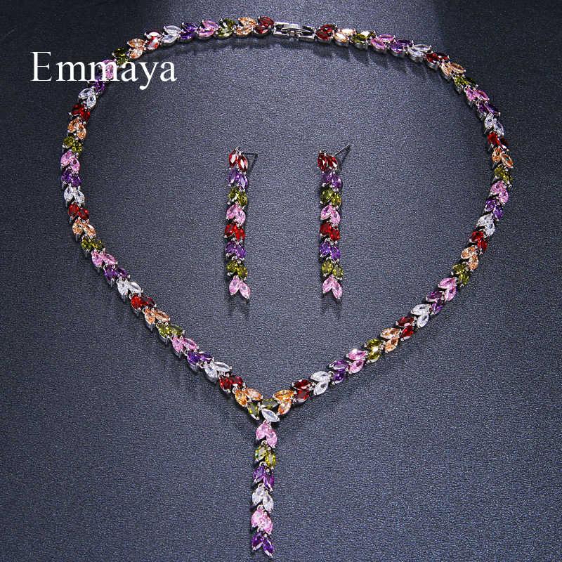 Emmaya Luxury สีสัน Sparking Cubic Zircon Drop ต่างหูสร้อยคอหนักชุดเครื่องประดับงานแต่งงานชุดเจ้าสาวของขวัญ