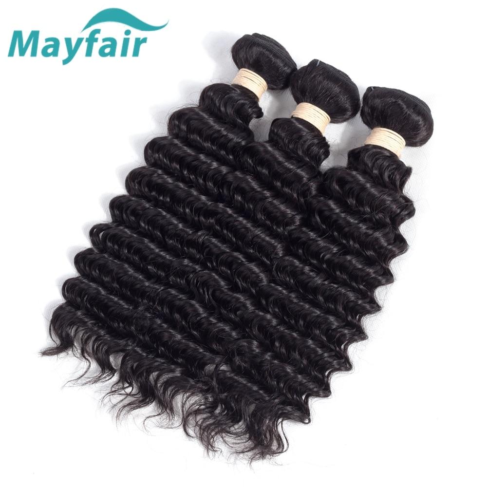 Mayfair волос Малайзии глубокая волна 3 Связки Малайзии пучки волос плетение человеческих волос глубокая волна Волосы Remy ткань расширения