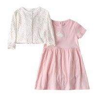 Novatx J8002 de mode 2018 nouveau design robe bébé filles à manches courtes robe coton ensemble avec top et sous-vêtements bébé filles robe ensemble