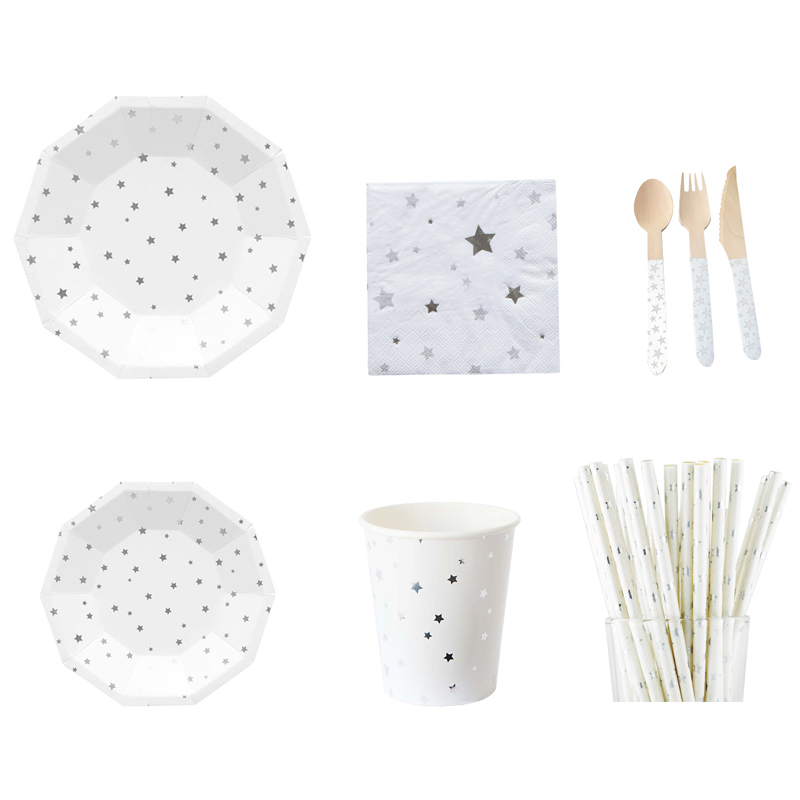 Silver Stars Party Tablewares Disposable Paper Plates Cups Dinner Napkin Straws Wooden Spoon Knife Fork with Chrome Star balloon in Disposable Party Tableware from Home Garden