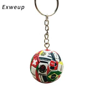 Exweup New World Flag Football Keychain Country Soccer Fans Keyring Key Chains Souvenir Bag Pendant Accessories Gifts 2018