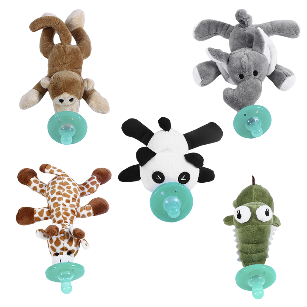 Cute Newborn Baby Pacifier Food-grade Silicone Cartoon Animal Pacifier With Soft Plush Toy BPA Free Dummy Nipple Teat Soother