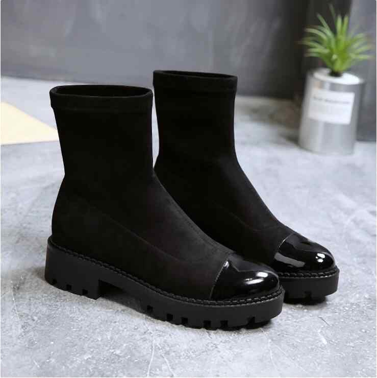 YeddaMavis สีดำผู้หญิงรองเท้าผู้หญิงรองเท้าใหม่ Slim ยืดถุงเท้าข้อเท้ารองเท้าสำหรับรองเท้าสตรีรองเท้าสตรีรองเท้าผู้หญิง Zapatos De mujer