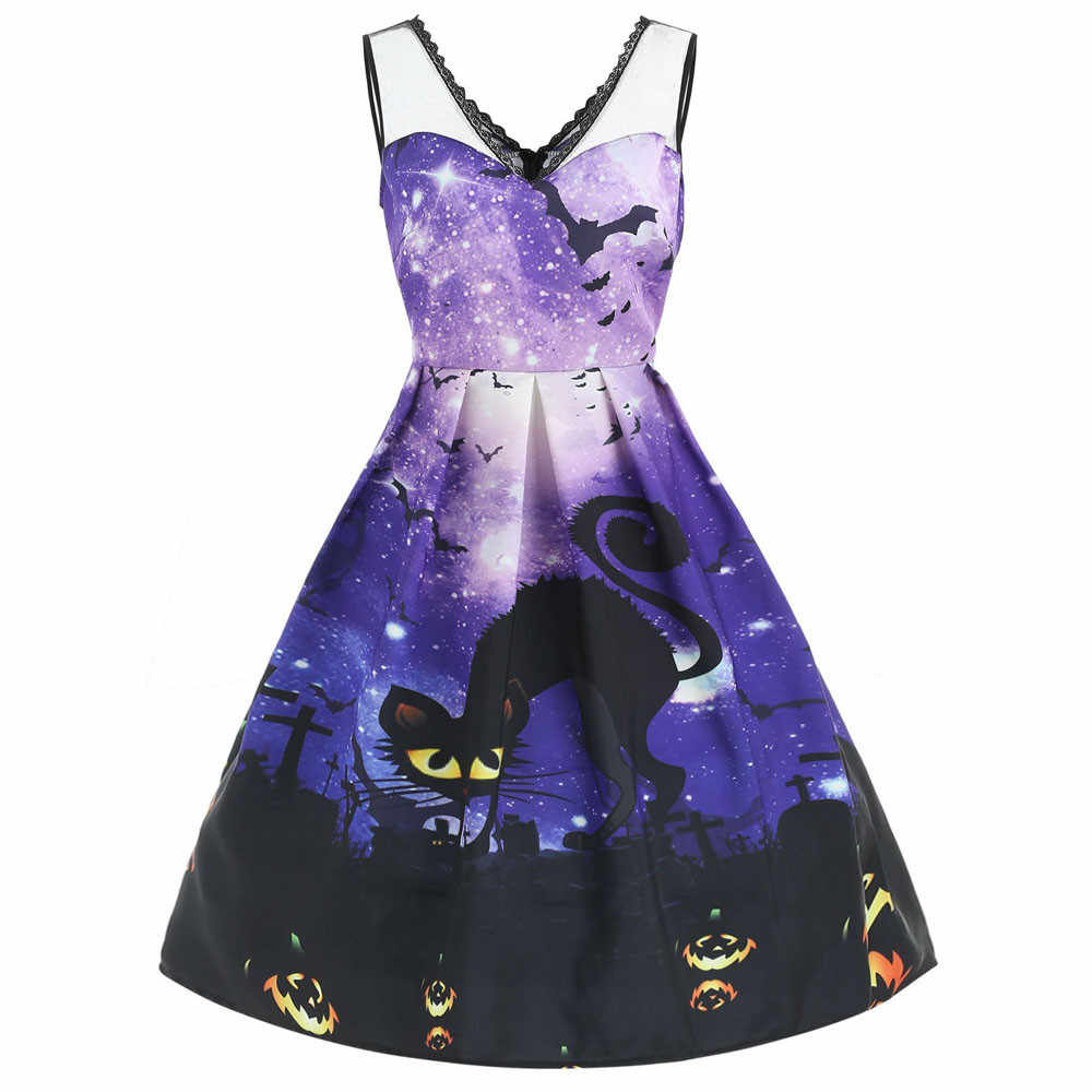 9ae73b0109 Women Sleeveless robe femme hiver Galaxy Print Cat elbise vestidos verano  Halloween Evening Prom Costume Swing Dress 2019